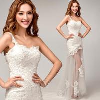 White embroidered shoulder fishtail vestidos de dama de honor 2014 fashion hot &sexy plus size lace up Bridesmaid dresses8279
