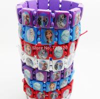 72pcs Frozen Anna/Elsa/Olaf/Sven character Wood Bracelets Wristbands Wholesale Children Fashion Party Gift Jewelry Lots