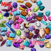 2014 new arrival 100pcs mix color mix shape rhinestones Sew on Rhinestones Acylic rhinestone buttons Flat back gems DIY