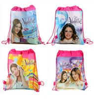 Free Shipping 2014 Hot! New Children Backpacks Violetta Printed School Bags For Girl Non-woven Drawstring Gift Cartoon Bag