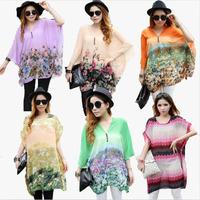New Fashion 2xl 3xl 4xl 5xl 6xl Plus Size Women Summer Printed Flower Chiffon Blouses Shirts 2014 Loose tshirt Top for Pregnant