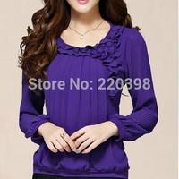 2014 New  fashion women long sleeve chiffon ruffles shirt blouse slim fit o-neck spliced blouses women tops Plus Size M-5XL 2306