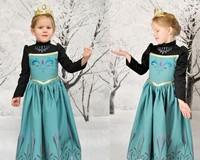 Children princess dress Children's Clothing Elsa Ana Frozen Dresses 5pcs/lot