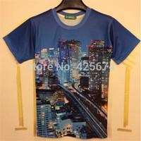 2015 New arrival newest 3d tshirt modern ciy building printed casual t-shirt summer men cotton t-shirt W042