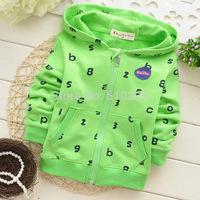 New 2014 Children Hoodies Letter Pattern Boys' Hoody Zipper Clothes Children Sweatshirts Kids Fall Clothes Baby Girl Autumn Tops