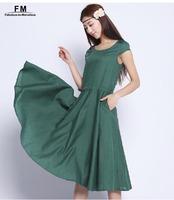 Casual Linen Dresses Women 4 Colors Linen Cotton Blend Plus size Clothing Bohemian Loose Cute Summer Long Dress 2014 SS14D037