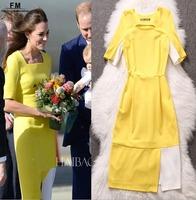 Princess Kate Yellow Dress 2014 New Women Summer Bandage Dress Short Sleeve Knee Length Bodycon Dresses Work Clothes SS14D035
