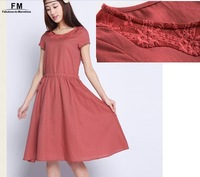Embroidery Linen Cotton Dress Summer 2014 Fashion Mid Calf Long Dresses Plus Size Female Clothing Casual Dress SS14D038