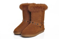 MEMOO 2014 Women Snow Boots Platforms Round Toe Low heel Rivets Winter US Size 4-12 Cow Muscle Full Grain Leather  A1578