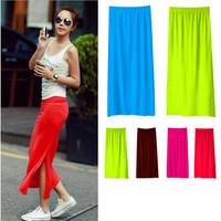 Cheap New Fashion Woman Skirt Side Split Slit Maxi Skirt Lady Package-hip Straight Slim Modal Long Skirt 8 color