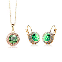 Necklace+earring,Wholesale 18K Gold White Gold Plated Full Austrian Crystal Jewelry Sets 2J31