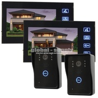 "Wholesale Quality 7"" Color LCD Door Phone Doorbell Intercom Touch Key 2 IR Cameras 2 Monitors SY806MJ22"