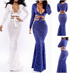 Presell marque nouveau style des femmes robes longues 2014 mode v profond- de dentelle au cou maxi robe sexy femmes 2 pièces élégante robe sirène