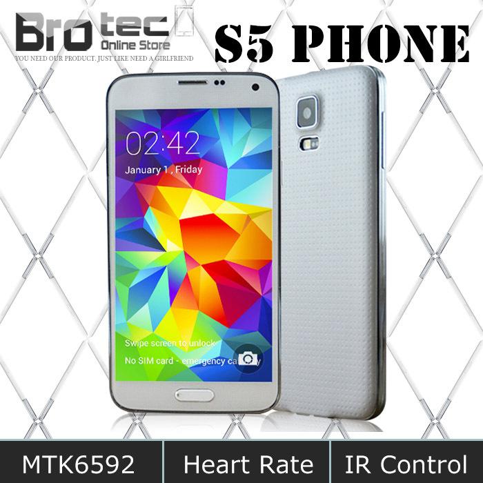 Geste Éveil 1920*1080 hdc sv s5 i9600 16go téléphone rom 2gb ram. mtk6592 octa core téléphone portable intelligent étanche. android. 4.4 kitkat