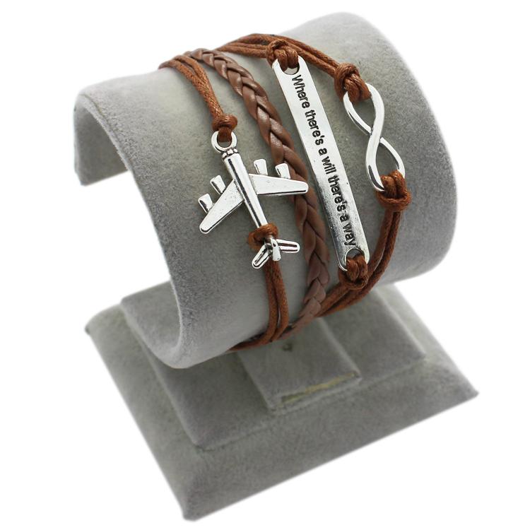 Plane Bracelet Love Bracelet Infinity Bracelet Personalized Braid Leather and Wax Cord bracelet 1685