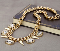 Chunky Gold Chain Necklace Spiked Necklace Rhinestone Necklace Statement Necklace cxt98097