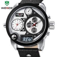 WEIDE Oversized men watch 30 ATM analog sports watch genuine leather Japan Miyota 2035 quartz watch1 year guarantee  Man watch