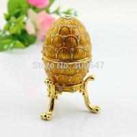 Shinny Gifts Gold Egg shape Faberge Enamel Handmade Indian Trinket box Free Shipping
