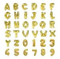 Hot Sales 1pcs/lot 26 letters and number  choose 16 inch Gold Letter Foil Balloons Wedding Birthday Party balloon decoration