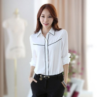 Fall 2014 New Fashion Women's Clothing Chiffon Hit Color Slim Large Lapel Long-Sleeved Blouses Women Work Shirt
