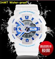 Fashion Korean Candy Color Rubber Wristwatch Dual Display Analog Digital Boys Girls Sports Watches 30M Waterproof Clock NW751