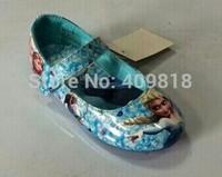 Size 25~30  2014 hot sell frozen elsa and anna  shoes blue girls flats kids children princess  shoes