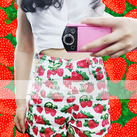 Free Shipping American Apparel Newest Vintage Stylish Strawberry Pattern Print High Waist Shorts