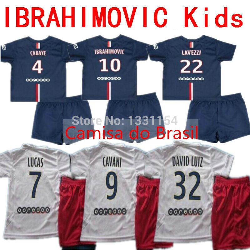 2015 CABAYE IBRAHIMOVIC Kids Jersey DAVID LUIZ Kids Soccer Jersey 14 15 MATUIDI T Shirt T.SILVA CAVANI Kits Sets Enfants Maillot(China (Mainland))