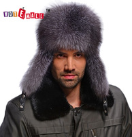 New arrival 2014 lei feng cap sliver fox fur genuine leather warm ear hat northeast fur hat thick
