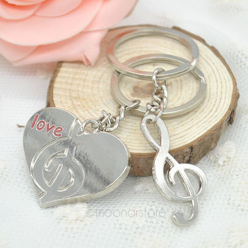 New 2014 Fashion Lovers gift keychain couple Love Heart musical note key chain One Pair Key Ring Free Shipping FMHM147#M1(China (Mainland))