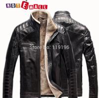 2014 free shipping fashion Leather jacket fur men's leather clothing men's genuine leather Mandarin Collar Sheepskin vest coat