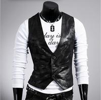 3 Colors Plus Size New 2014 Fashion Simple Men Slim Vests Men's PU Leather Vest Male Waistcoat Brand Jacket Mens Clothing AX135