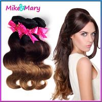 3pcs lot Free Shipping affordable 5A  peruvian Virgin Hair Body Wave three tone  1b/4/27 Weave