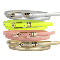 10 style New brand designer fashion simple lady leather belt thin belt pin buckle chain candy color strap free shipping PT37