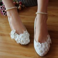 ( 3cm heel) Pearl bandage wedding shoes the bride bridal women's pumps wedding shoes low heel bridal pumps shoe for women