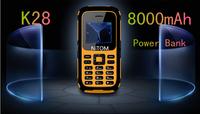 GRSED E4000 / K28 Senior elder old man phone 8000mAh battery Power Bank phone Big sound 2 sim LED Flashlight B30 H1 H5 A8 V5+ J5