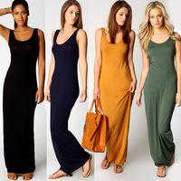 New Summer Dress 2014 Sleeveless O-neck Tank Casual Dress For Women Black,Blue Bodycon Maxi Dress S,M,L