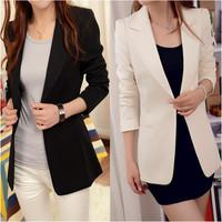 S~XXL Spring and autumn women's fashion medium-long plus size slim jacket  drop shipping