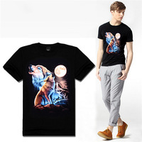 2014 New T Shirt Men Wolf Print Sport Casual Short Sleeve Tee T Shirt Cotton 3D T Shirts  Plus Size Free Shipping