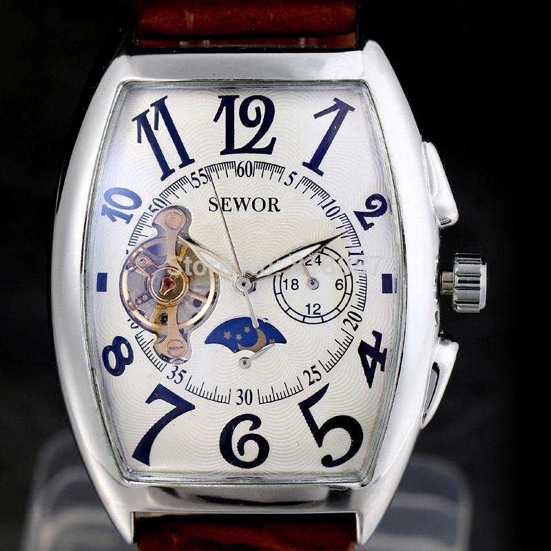 2014 new fashion men leather retro strap calendar date male gife classic self-wind mechanical wrist watch(China (Mainland))