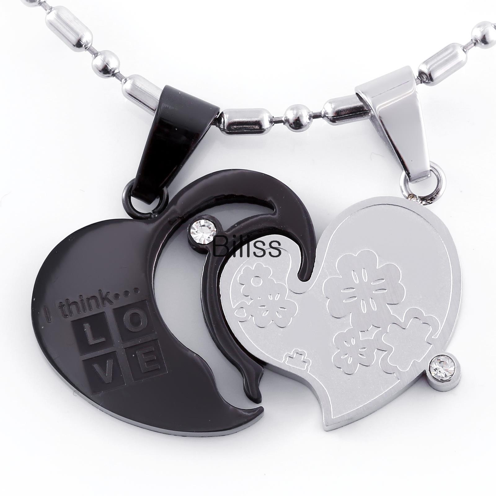 Fashion Couple Stainless Steel Double Love Split heart Pendant Necklaces Two Chains included Silver Black Colors Selectable(China (Mainland))