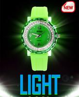 Designer Novel Light Crystal Watch for Women Vogue Party Dress Quartz Wristwatch Candy Color Silicone Clock Luminous Reloj NW804