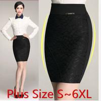 Sale Plus Size Lace Pencil Skirts Women Office Work Wear Midi Long High Waist Skirt saias femininas formal Black S~6XL S141911