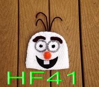 free shipping, 5pcs new Cartoon Frozen snowman - Olaf  Baby Boy or Girl Crochet Hat newborn Photography Prop 100% cotton