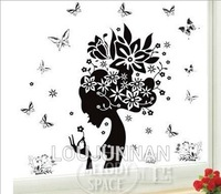 50*70Free Shipping 1Pcs Aestheticism Butterfly Flower Head Pretty Lady For Living Room Decoration Removable PVC Wall Sticker