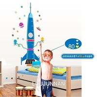 60*90 Free Shipping 1Pcs Cute Blue Rocket Care Of Baby Children Measure Height For Children Room Removable PVC Wall Stickers