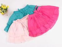 2014 Girls Cute Princess Dance Party Bow Tutu Skirt Chiffon Tutu Pleated Skirt 1-6 Years