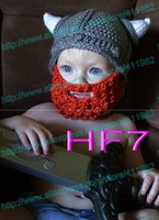 free shipping,new Cartoon vikings horn hat with Bearded mask, Baby boy or Girl Crochet Hat newborn Photography Prop 100% cotton