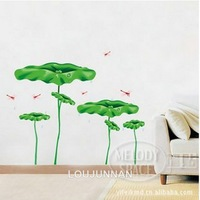 50*70 Free Shipping 1Pcs Green Lotus Leaf Flying Dragonfly Summer Fit For Living Room Decoration Removable PVC Wall Sticker