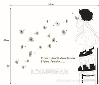 Free Shipping 1Pcs I Am Small Dandelion Fly Freely Little Pretty Girl Chair Removable PVC Wall Stickers Decoration Gift